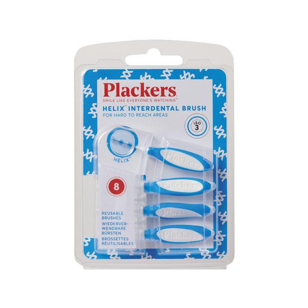 プラッカーズ・タフスパイラル歯間ブラシ 青 0.6mm Sサイズ 8本入